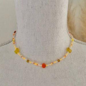 "Handmade flower power ✌🏻 beaded choker necklace butterfly 🦋 15.5"" 90s Y2K vibe"